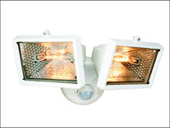 Byron BYRES1202W - ES120/2W Twin Halogen Floodlight With PIR White 150 Watt