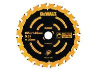 DEWALT DEWDT10624QZ - Circular Saw Blade 165 x 20mm x 24T Cordless Extreme Framing