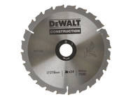 DEWALT DEWDT1154QZ - Circular Saw Blade 216 x 30mm x 24T Series 30 Construction Fast Rip
