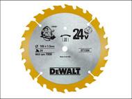 DEWALT DEWDT1204QZ - Trim Saw Blade 165 x 10mm x 24T Fine Cross Cut