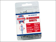 Faithfull FAIAR3M100 - Aluminium Rivets 3.2mm x 10mm Medium Pre-Pack of 100