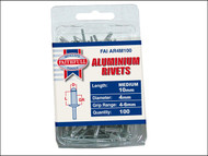 Faithfull FAIAR4M100 - Aluminium Rivets 4mm x 10mm Medium Pre-Pack of 100