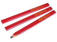 Faithfull FAICPR - Carpenters Pencils - Red / Medium (Pack of 3)