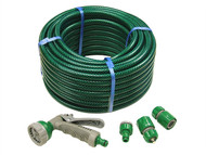 Faithfull FAIHOSE30AV - PVC Reinforced Hose 30 Metre Fittings & Spray Gun