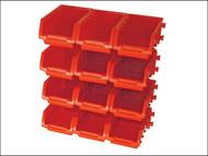Faithfull FAIPAN12 - 12 Plastic Storage Bins with Wall Mounting Rails