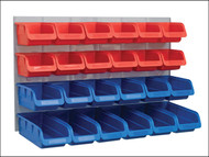 Faithfull FAIPAN24 - 24 Plastic Storage Bins with Metal Wall Panel