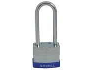 Faithfull FAIPLLAM40LS - Laminated Steel Padlock 40mm Long Shackle 3 Keys