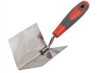 Faithfull FAISGTCINTSS - Internal Corner Trowel Stainless Steel Soft Grip Handle 4 x 3 x 3in
