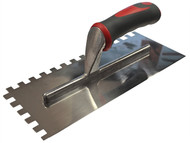 Faithfull FAISGTNOT10S - Notched Trowel Serrated 10mm Stainless Steel Soft Grip Handle 13 x 4.1/2in
