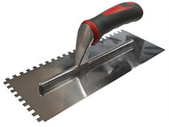 Faithfull FAISGTNOT6SS - Notched Trowel Serrated 6mm Stainless Steel Soft Grip Handle 11 x 4.1/2in