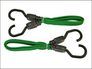 Faithfull FAITDBUNG24 - Flat Bungee Cord 61cm (24in) Green 2 Piece