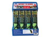 Faithfull FAITDRATSET4 - Ratchet Tie-Downs 5m x 25mm Green 4 Piece