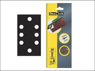 Flexovit FLV26342 - 1/3 Sanding Sheets 93 x 185mm Quick Release Coarse 50g (6)
