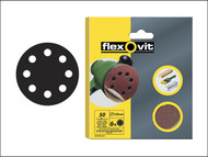 Flexovit FLV26390 - Hook & Loop Sanding Discs 125mm Medium 80g (Pack of 6)