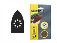 Flexovit FLV26402 - Detail Hook & Loop Sanding Sheets 105 x 175mm Coarse 50g (6)
