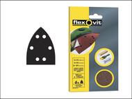 Flexovit FLV26408 - Detail Hook & Loop Sanding Sheets 95 x 145mm Medium 80g (6)
