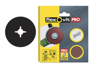 Flexovit FLV27531 - Aluminium Oxide Fibre Discs 115mm Extra Coarse 36g (Pack of 3)