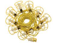 Faithfull Power Plus FPPSLFESTLE - Festoon Lights Low Energy Bulbs 25m 10 Bulbs 110 Volt