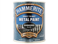 Hammerite HMMHFBL750 - Direct to Rust Hammered Finish Metal Paint Black 750ml