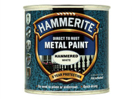 Hammerite HMMHFW250 - Direct to Rust Hammered Finish Metal Paint White 250ml