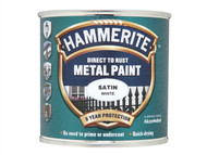 Hammerite HMMSAFW250 - Direct to Rust Satin Finish Metal Paint White 250ml