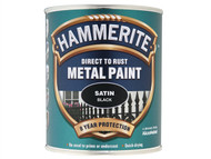 Hammerite HMMSATBL750 - Direct to Rust Satin Finish Metal Paint Black 750ml