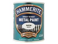 Hammerite HMMSATW750 - Direct to Rust Satin Finish Metal Paint White 750ml
