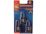 Henry Squire HSQCLL20TR - Toughlock Re-Codeable Black Combination Padlocks 20mm (Pack of 3)