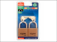 Henry Squire HSQLN4T - LN4T Lion Brass Padlocks 5-Pin 40mm Twin Pack (2 x LN4KA)