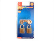 Henry Squire HSQLP6T - LP6T Leopard Brass Padlock 20mm (Card of 2)