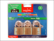 Henry Squire HSQLP9TR - LP9TR Leopard Brass Card Padlock 40mm Keyed (Card of 3)