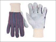 Kuny's KUN2036 - Leather Palm Cotton Knit Wrist Gloves Large (Size 10)