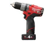 Milwaukee MILM12CDD4F - M12 CDD-402C Fuel Compact Cordless Drill Driver 12 Volt 2 x 4.0Ah Li-Ion