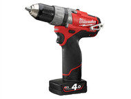 Milwaukee MILM12CPD4F - M12 CPD-402C FUEL Compact Cordless Percussion Drill 12 Volt 2 x 4.0Ah Li-Ion