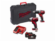 Milwaukee MILM18BPP2C - M18 BPP2C-402 Twinpack 18 Volt 2 x 4.0Ah Li Ion