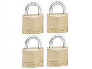 Master Lock MLK130Q - Solid Brass 30mm Padlock 4-Pin - Keyed Alike x 4