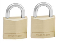 Master Lock MLK130T - Solid Brass 30mm Padlock 4-Pin - Keyed Alike x 2