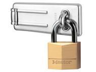 Master Lock MLK140703 - Hasp 89mm + Solid Brass Padlock 40mm