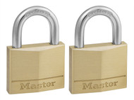 Master Lock MLK140T - Solid Brass 40mm Padlock 4-Pin - Keyed Alike x 2