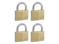 Master Lock MLK150Q - Solid Brass 50mm Padlock 5-Pin - Keyed Alike x 4