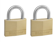 Master Lock MLK150T - Solid Brass 50mm Padlock 5-Pin - Keyed Alike x 2