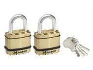 Master Lock MLKM1BT - Excell Brass Finish 45mm Padlock 4-Pin - Keyed Alike x 2