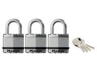 Master Lock MLKM1TRI - Excell Laminated Steel 45mm Padlock - 24mm Shackle - Keyed Alike x 3