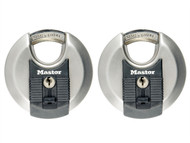 Master Lock MLKM40T - Excell Stainless Steel Discus 70mm Padlock Keyed Alike x 2