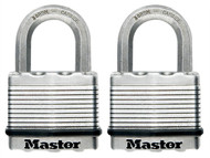 Master Lock MLKM5T - Excell Laminated Steel 50mm Padlock - 25mm Shackle - Keyed Alike x 2