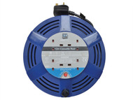 Masterplug MSTLCT12134R - Cassette Cable Reel 12 Metre 4 Socket Thermal Cut-Out Blue 13A 240 Volt