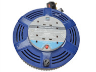 Masterplug MSTLCT15104R - Cassette Cable Reel 15 Metre 4 Socket Thermal Cut-Out Blue 10A 240 Volt