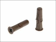 Rawlplug RAW68560 - Brown Uno Plugs Card of 96 7mm x 30mm