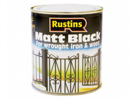 Rustins RUSBM250 - Matt Black Paint Quick Drying 250ml