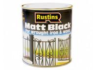 Rustins RUSBM500 - Matt Black Paint Quick Drying 500ml